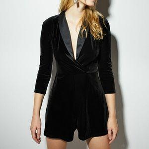 NWT Bershka Special Edition Black Velvet Jumpsuit